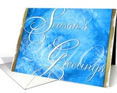 Season's Greeting - Blue and Gold Abstract Christmas Card