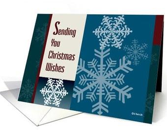 Seasons Greeting with Snowflakes Christmas Card