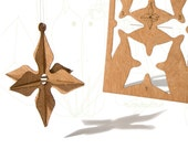 postcard wood - 3 x 3D star card
