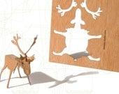 postcard wood - one deer card