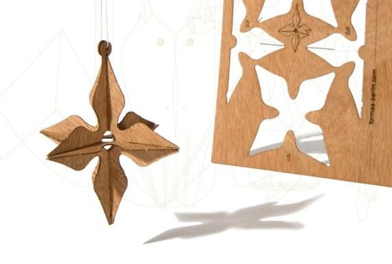 postcard wood - 3 x 3D star card