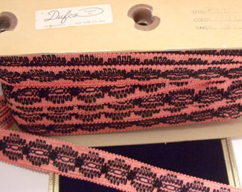 SALE!!!  13 and 1/2 yds. of Pink and Black 2 Inch Trim by Dulfco Inc New York