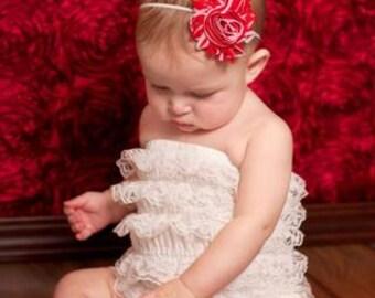 Red and white headband.. Girls red headband.. Baby girl red headband