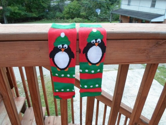 Christmas Penguins Baby leg warmers--Regular sized