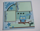 12x12 Blue/Green Owl Sweet Dreams Premade Scrapbook Page