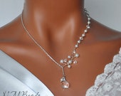Pearl and Crystal Bridal Necklace, Lariat Necklace, Sterling Silver, Wedding Jewelry, Swarovski Jewelry