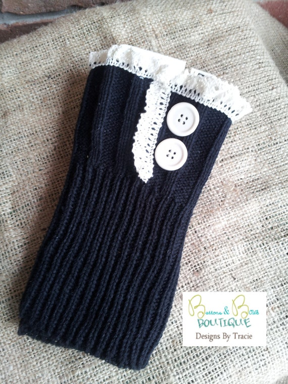 Boot toppers Black with lace and buttons