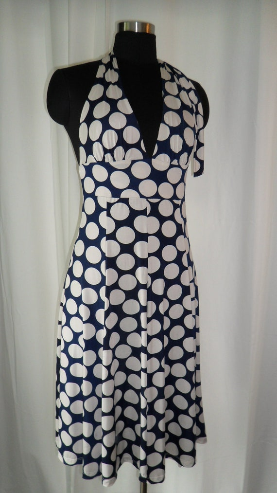 80's swingy and sophisticated OP ART meets Marylin Monroe polka dot halter dress - size US medium (8-12)