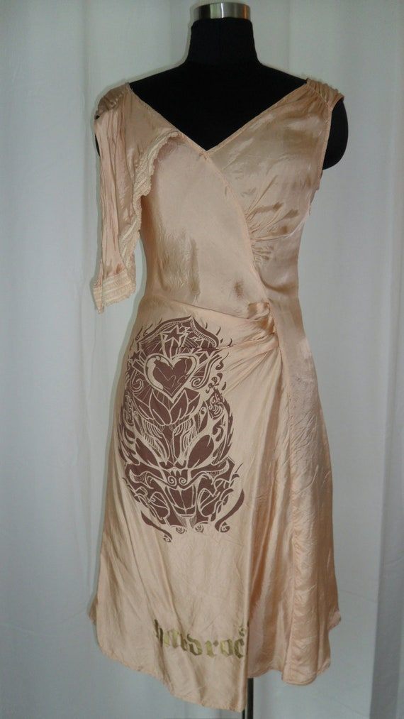 90's upcycled boho painted and deconstructed NOSE (Made in Italy) lingerie slip sundress in nude: size Medium