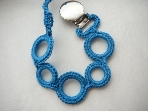 Baby boy pacifier clip. Color- Blue.  (Universal style- fits mam, soothie, nuk)    Made by lippybrand.