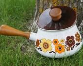 vintage floral brown cooking pot