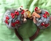 kawaii lolita fairy kei decora red teddy bear biscuit plushie headband