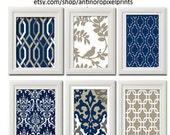 Vintage / Modern inspired Art Prints Collection (Series A) -Set of 6 - 8x11 Prints - Featured in Navy Grey White  (UNFRAMED)