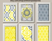 Vintage / Modern Inspired Art Prints Collection -Set of 6 - 8x11 Prints  - Featured in Yellow / Grey White (UNFRAMED)