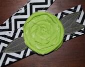Fabric Flower Headwrap, Headband, Rose, head wrap, hair, covering, lime, rosette, chevron