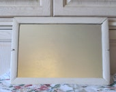 Old White Mirror with Wooden Frame Very Shabby Chic  or Country Cottage, 20 1/2 Inches long and 14 1/2 inches wide