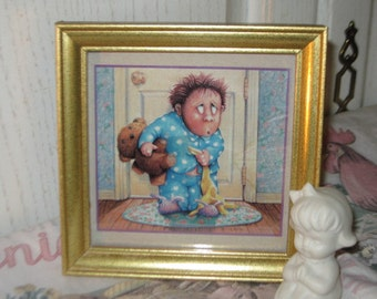 Vintage Picture,Picture of  Boy/Bear + Blanket Sullivin/Childs Picture,Bathroom Decor:)SUse Coupon Code CLEARINGOUT25 Must use at check out