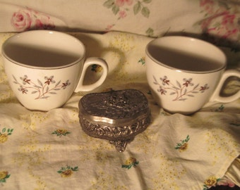 Pretty Set of Two Cups with Grey Flowers and Brown leaves Pottery,Vintage Cups,Vintage Dishes, :)