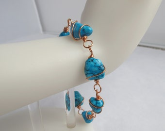CLEARANCE - Copper-Wrapped Turquoise Nugget Bracelet