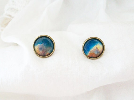 galaxy universe space cabochon earring studs hipster new age