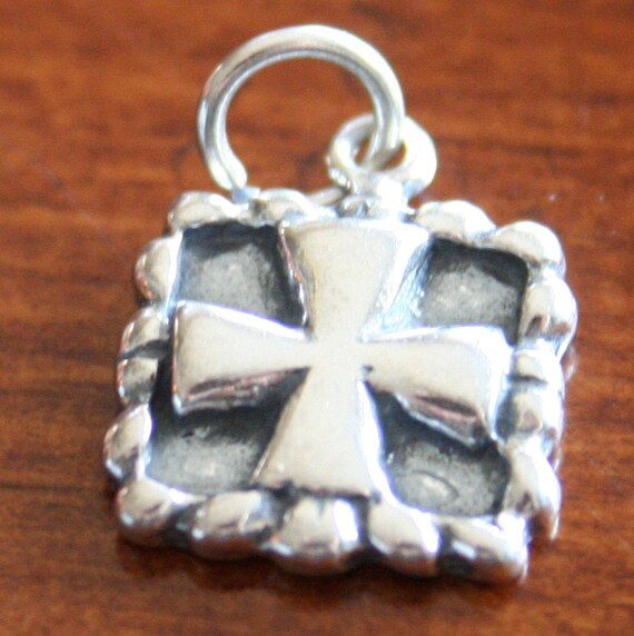 Cross Square Charm- Sterling Silver- Framed Cross Pendant- Christian Jewelry- Religious Gift- Baptism Jewelry