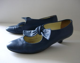 Blue Leather Shoes - Mary Janes - UK Size 4