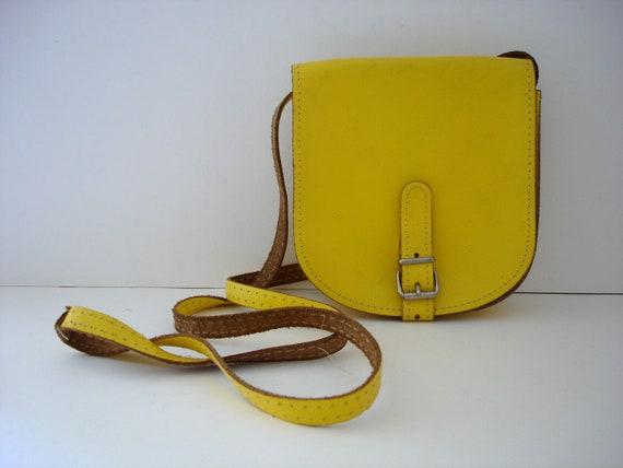 Vintage Leather Handbag - 80s Cross Body Yellow Leather Handbag