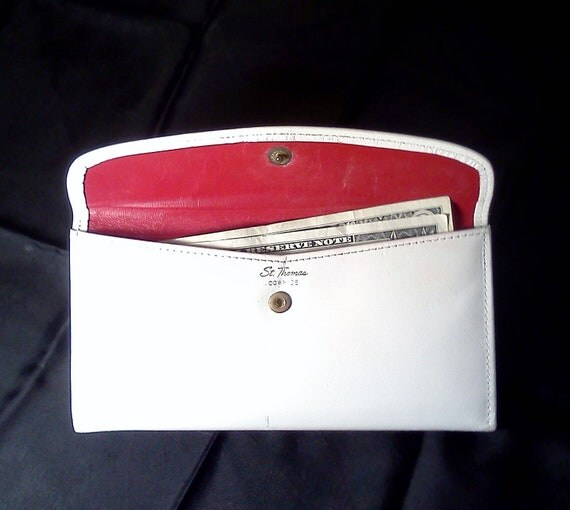 Vintage Wallet White Leather St. Thomas Mad Men Chic 1970s