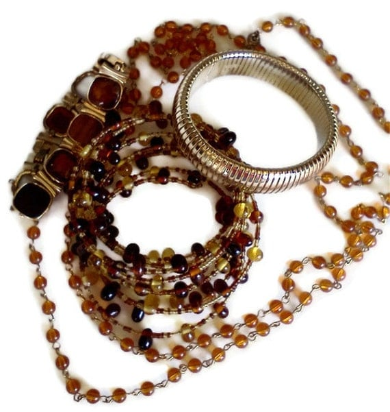 Reserved for Alex Vintage Amber and Gold tone Boho Jewelry Collection