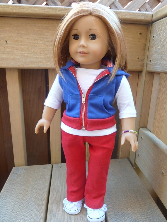 American Girl Doll Clothes - American Colors 3 piece outfit includes jeans, tshirt and sleeveless hoodie