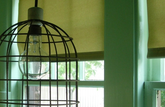 "VINTAGE INDUSTRIAL LIGHT - Machine-Age Steel Cage Guard Bird Cage Pendant Light 13 1/2"" h x 10"" diameter"