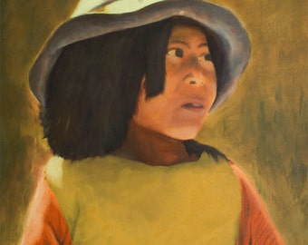 Original Oil Painting - 20 x 16 inches - Peruvian Girl