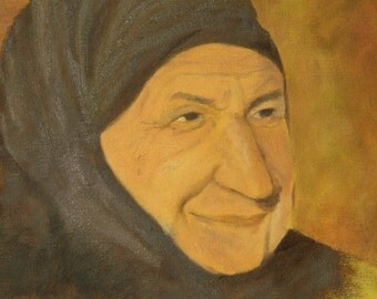 Original Oil Painting - 10 x 8 inches- Turkish Grandmother