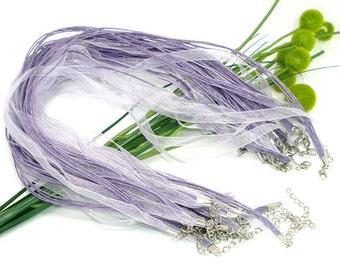 20 Lavender Organza Ribbon Necklaces - Lobster Clasp - 18 inch Adjustable