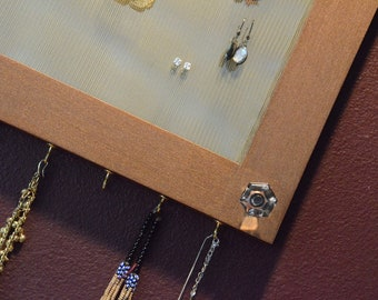 Mirrored Jewelry Organizer Aged Copper Storage Earring Organization Vanity Necklace Hanger Wall Mount  (Patent Pending)