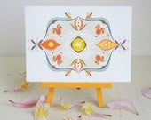 5 x 7 set of 3 designs, abstract, symmetrical, art print, decor, colorful, indie, hand stitched