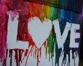 LOVE Rainbow Melted Crayon Art