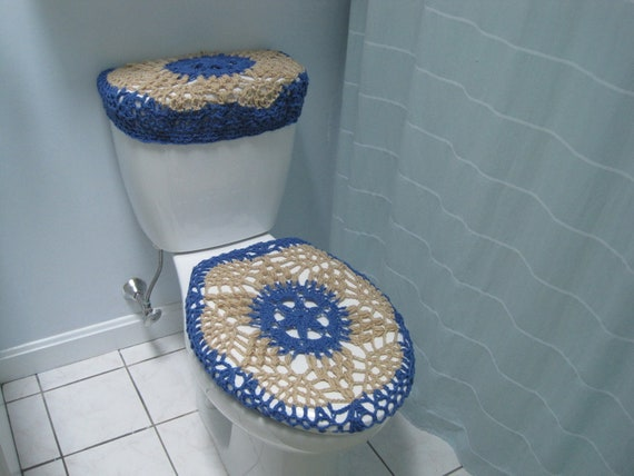 Accesorios De Baño A Crochet:Crochet Tank to Toilet Seat Lid Cover Set