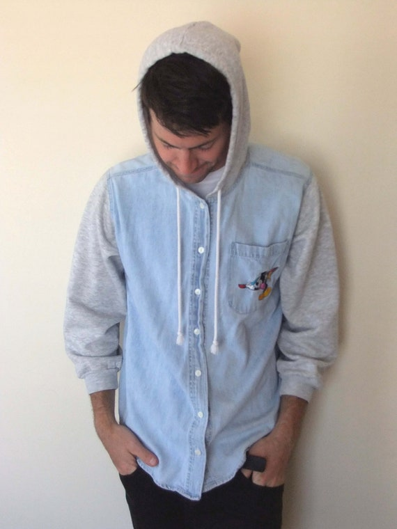 90s MICKEY MOUSE Contrast Sleeve Button Up Hoodie
