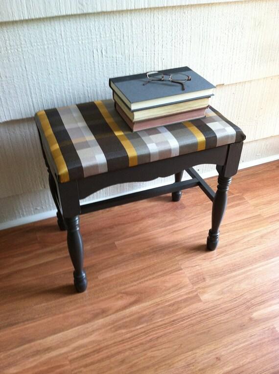 Upholstered Stool : Striped, Gray, Wood, Plaid, Footstool