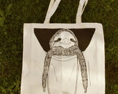 Hello sloth and hello cat screen printed tote bags(misprinted)