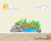 Kids Wall Stickers,Pond landscape Fabric Wall Decal Set,