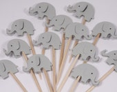 24 Gray Elephant Cupcake Toppers/Food Picks/Baby Shower/Party Supplies No. 187
