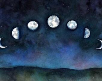 PRINT 5 x 7 Moon Phases art watercolor print Lunar night sky celestial art