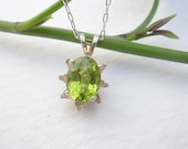 Natural Gemstone Peridot 8x6mm Faceted Oval 925 Sterling Silver Pendant With Chain