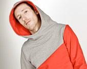 """hoody / sweater /jumper """"männertreu"""", red - grey"""