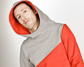 "hoody / sweater /jumper ""männertreu"", red - grey"