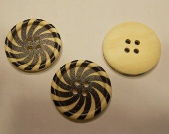 3 LARGE black swirl wood buttons, 30 mm (9)