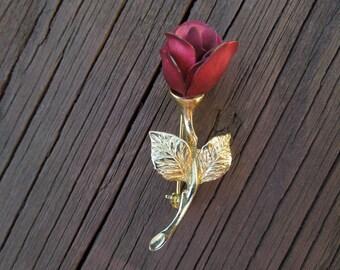 Vintage Rose Brooch, Gold Tone, Vivid Red Flower, Signed