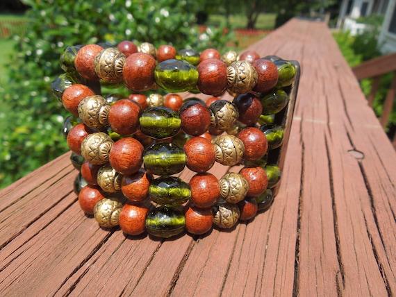 Vintage Bead Bracelet, Flexible, Green, Brown, Gold Tone, 5 Strands, Nice Condition